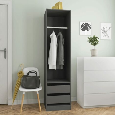Wardrobe with Drawers Grey 50x50x200 cm Chipboard