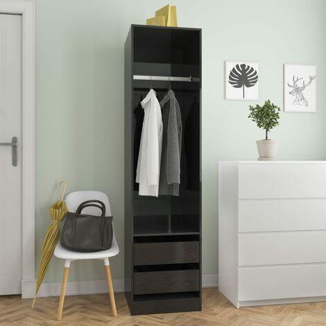 Wardrobe with Drawers High Gloss Black 50x50x200 cm Chipboard - Black