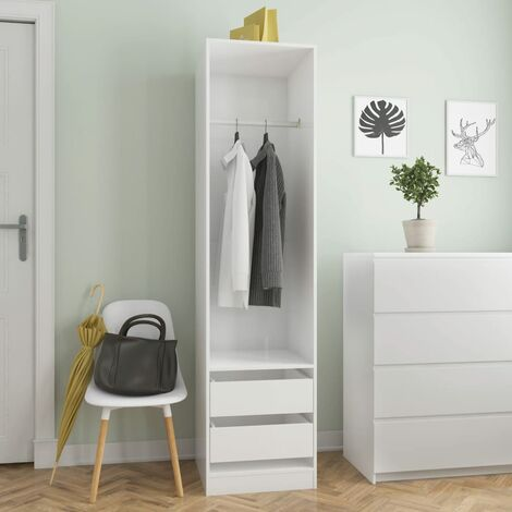 Wardrobe with Drawers High Gloss White 50x50x200 cm Chipboard - White