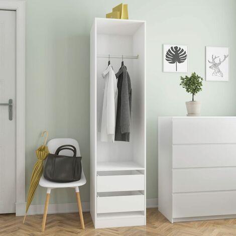 Wardrobe with Drawers White 50x50x200 cm Chipboard - White