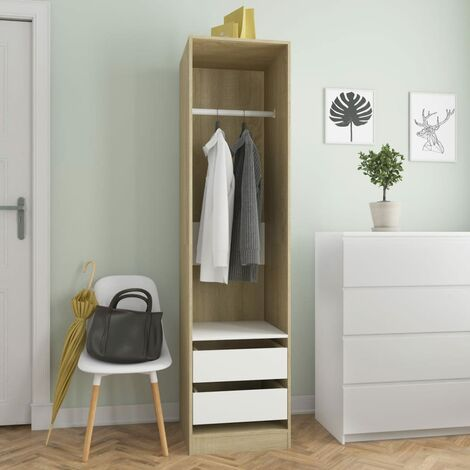 Wardrobe with Drawers White and Sonoma Oak 50x50x200 cm Chipboard
