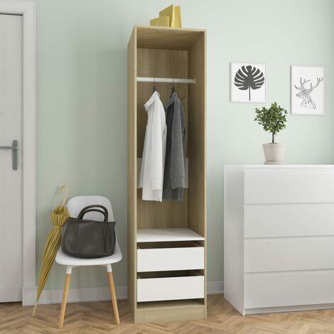 Wardrobe with Drawers White and Sonoma Oak 50x50x200 cm Chipboard - Multicolour
