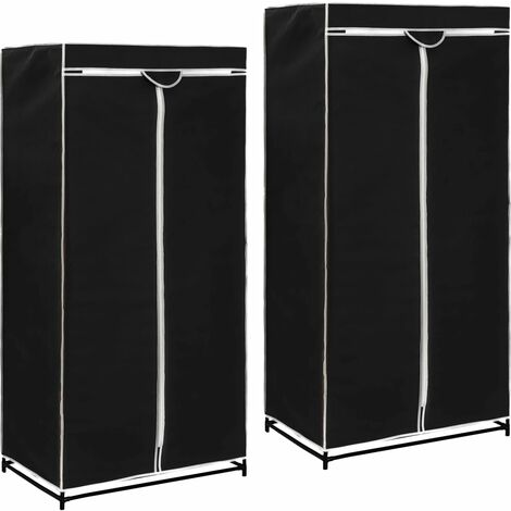 Wardrobes 2 pcs Black 75x50x160 cm