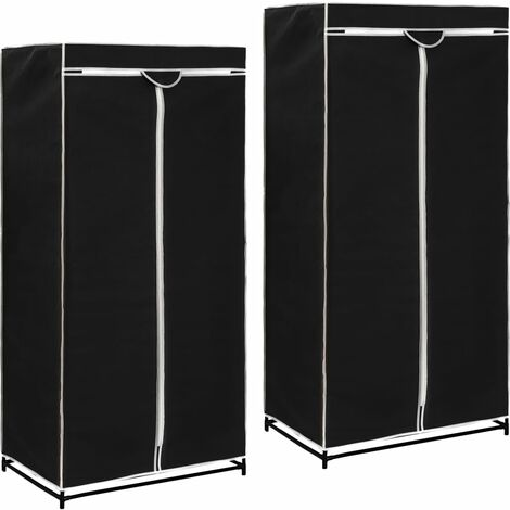 Wardrobes 2 pcs Black 75x50x160 cm