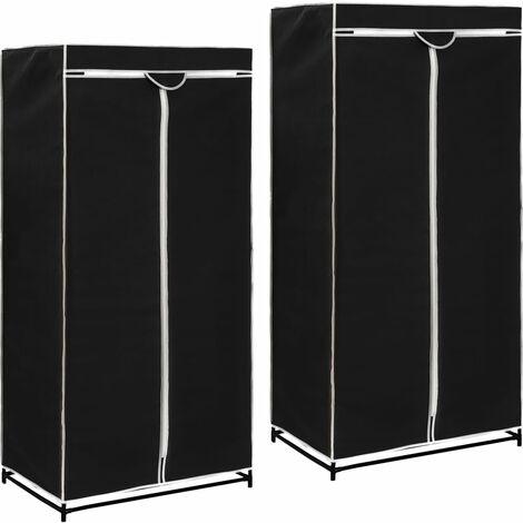 Wardrobes 2 pcs Black 75x50x160 cm - Black
