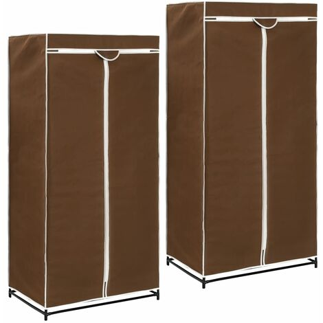 Wardrobes 2 pcs Brown 75x50x160 cm