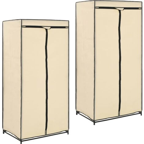 Wardrobes 2 pcs Cream 75x50x160 cm - Cream
