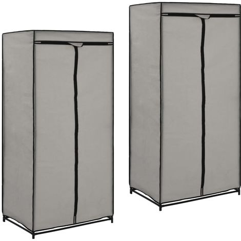Wardrobes 2 pcs Grey 75x50x160 cm