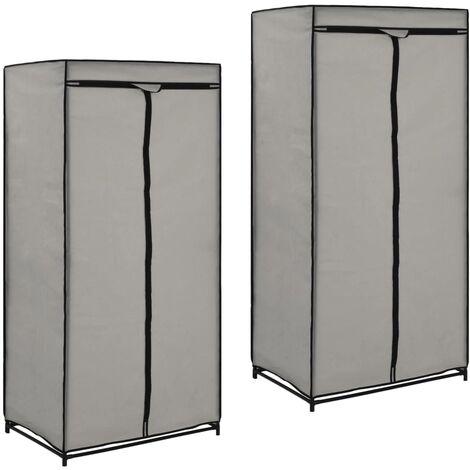 Wardrobes 2 pcs Grey 75x50x160 cm - Grey