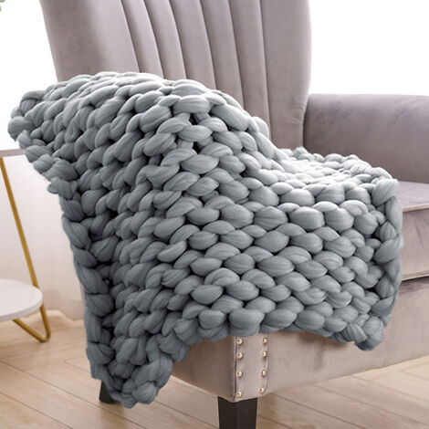 """main image of """"60CM Chunky Wool Yarn Knitted Blanket Thick Blankets"""""""