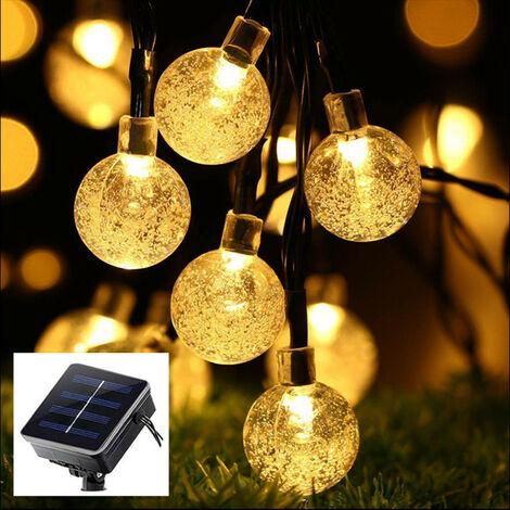 Warm Color Crystal Lights Solar Bubble Lights Christmas Lights Outdoor Garden Lights For Outdoor Garden Decoration 8 Solar Functions 7 Meter 50 Lights