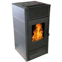 Warm Tech - Poele à pellets 8KW Noir- PAP8K-BLACK