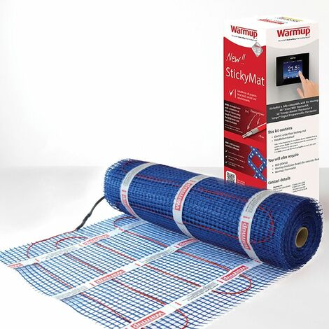 Warmup Electric Underfloor Heating Sticky Mat Kit Red Floor Cable 200W/m2 - 1m2