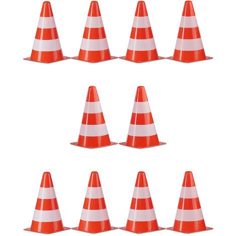 Warnkegel 10er Set, stapelbar, Verkehrshütchen, Schnürbeutel, Markierungshütchen, Pylonen, 22 cm, orange/weiß
