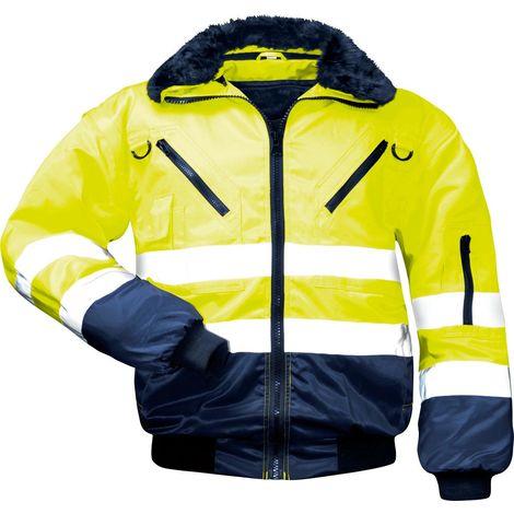 Warnschutzjacke Arbeitsjacke Warnjacke Pilotenjacke 4 in 1 Winterjacke gelb & orange