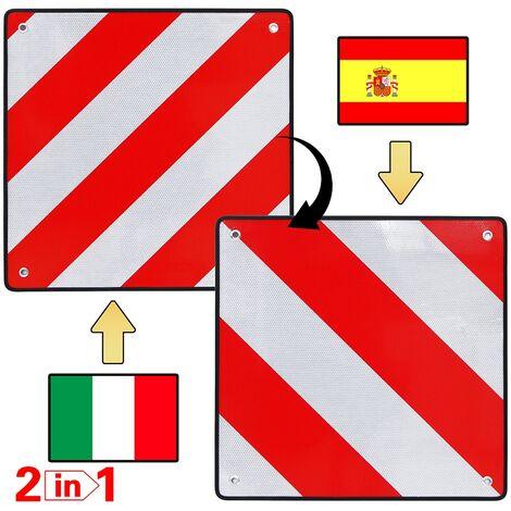 Warntafel Spanien Italien 50x50 2in1 Aluminium reflektierend Heckträger rot-weiß