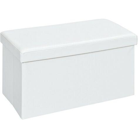 Warren XL - Pouf Coffre Pliant Blanc - Blanc