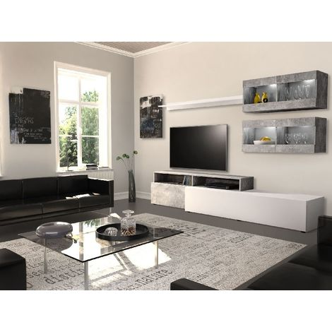 Warsaw TV Stand - Modern - with Shelves, Shelves - by Salotto - White made of Wood, MDF, Glass, 80 x 30 x 35 cm, 4xSMD-LED, 6 Lumen 4200K, White, Energetic Class A
