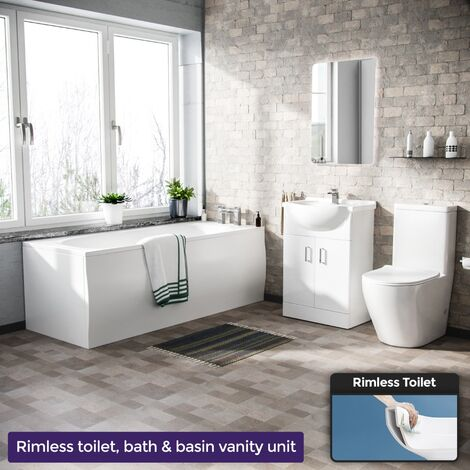 """main image of """"Warton 1700mm Round Bath, 550mm Vanity Unit and Curved Toilet Suite White"""""""