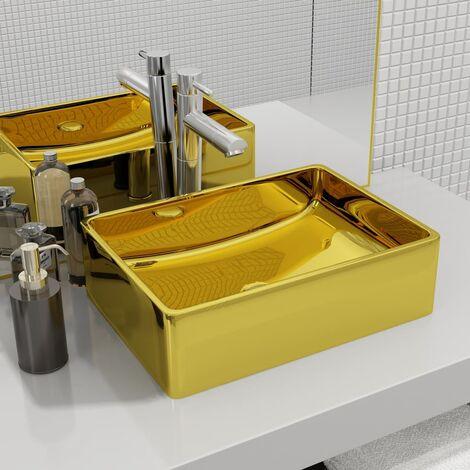 Waschbecken 41 x 30 x 12 cm Keramik Golden