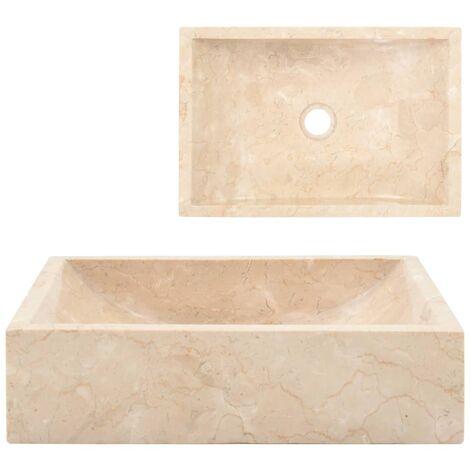 Waschbecken 45 x 30 x 12 cm Marmor Creme