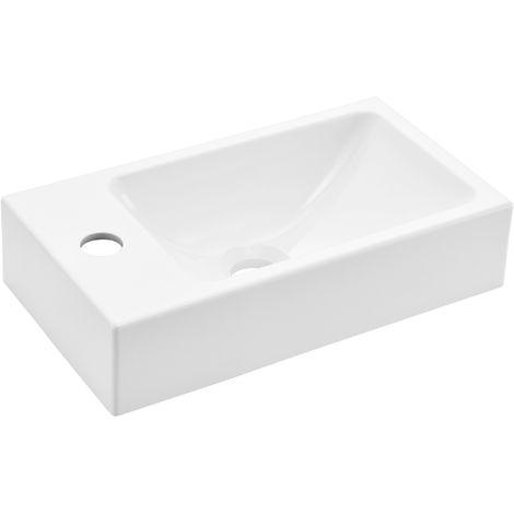 Waschbecken Aufsatzwaschbecken Handwaschbecken für Gäste WC - weiß -  40x22x9cm aus Mineralguss