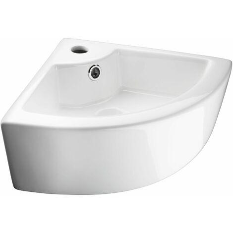 Waschbecken aus Keramik, eckig - Waschtisch, Aufsatzwaschbecken, Handwaschbecken - weiß