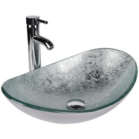 Waschbecken für Badezimmer Waschtischbecken aus gehärtetem Glas mit Wasserhahn