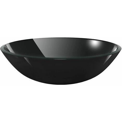 Waschbecken Hartglas 42 cm schwarz