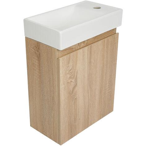 Waschbecken mit Schrank Waschtisch Aufsatzwaschbecken Handwaschbecken aus Keramik 55x22x41cm