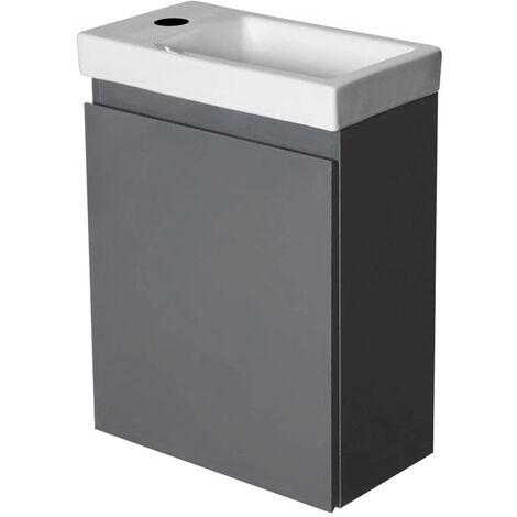 Waschbecken mit Schrank Waschtisch Aufsatzwaschbecken Handwaschbecken aus Keramik Grau