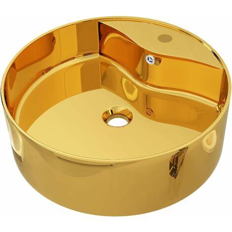 Waschbecken mit Überlauf 46,5 x 15,5 cm Keramik Golden