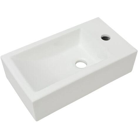 Waschbecken Rechteckig mit Hahnloch Keramik Weiß 46x25,5x12 cm