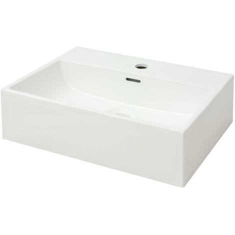 Waschbecken Rechteckig mit Hahnloch Keramik Weiß 51,5 x 38,5 x 15 cm