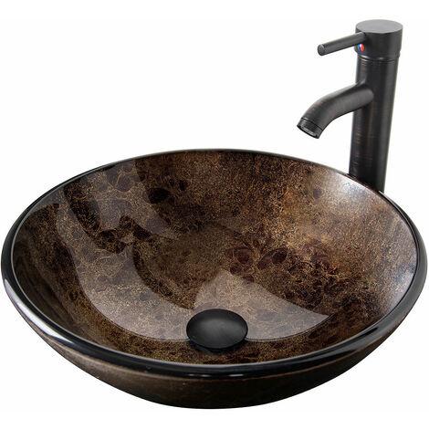 Waschbecken Rund Glas Aufsatzwaschbecken Wasserhahn Bad Abfluss