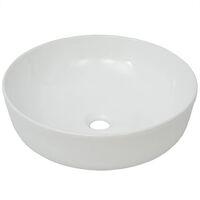 Waschbecken Rund Keramik Weiß 41,5 x 13,5 cm
