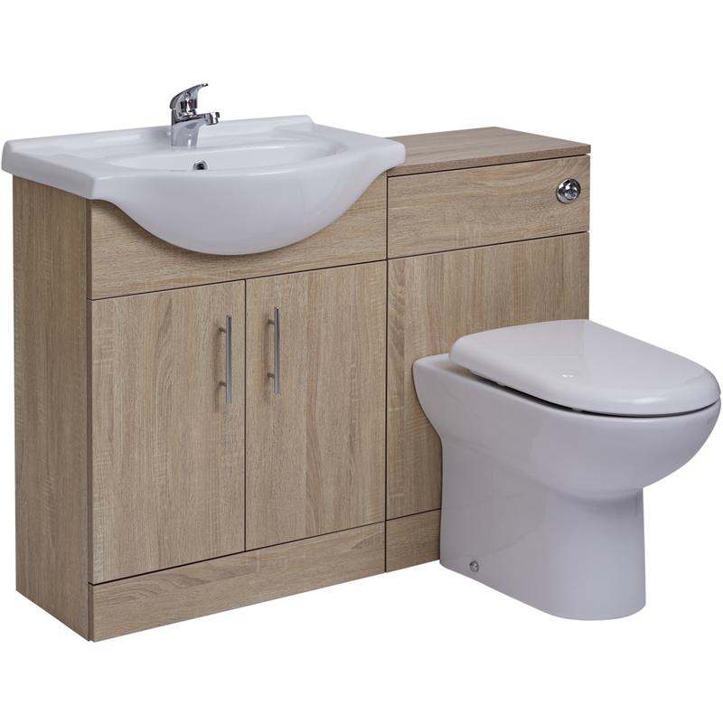 Waschbecken und Toiletten Set - Eiche 1140mm - Abgerundet Option 2