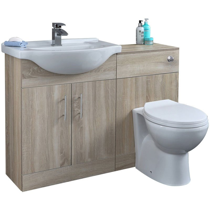 Waschbecken und Toiletten Set - Eiche 1140mm - Standard Option 1