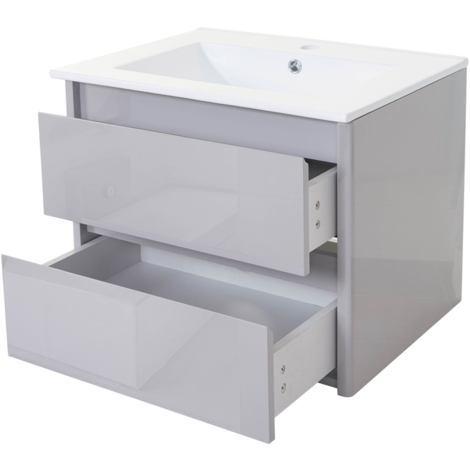 Waschbecken + Unterschrank HHG-614, Waschbecken Waschtisch Badezimmer, hochglanz 50x60cm