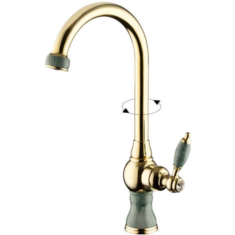 Waschschale Waschbecken Einhebel Marmor Armatur Wasserhahn Gold Sanlingo