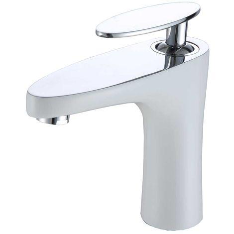 Waschbecken Waschtischarmatur Armatur Wasserhahn Mischbatterie Einhebelmischer Weiss Chrom Sanlingo