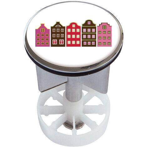 Waschbeckenstöpsel Design Häuserchen | Abfluss-Stopfen aus Metall | Excenterstopfen | 38 – 40 mm