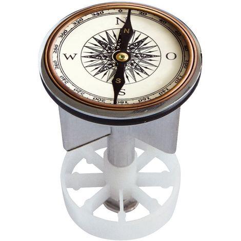 Waschbeckenstöpsel Design Kompass | Abfluss-Stopfen aus Metall | Excenterstopfen | Abflussstöpsel | 38 – 40 mm | Stöpsel