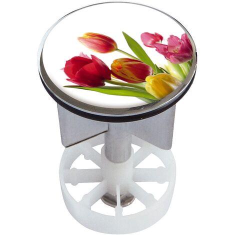 Waschbeckenstöpsel Design Tulpen | Abfluss-Stopfen aus Metall | Excenterstopfen | 38 – 40 mm