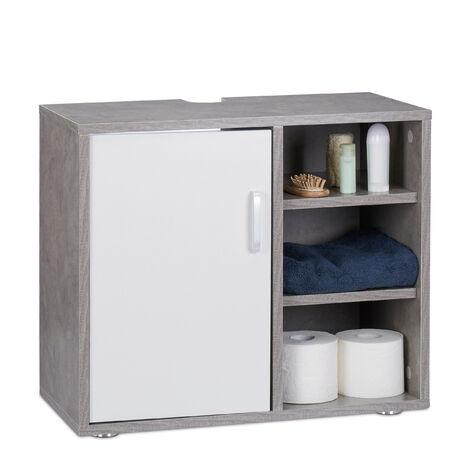 Waschbeckenunterschrank, eintürig, Badschrank, Aussparung, 3 Ablagen, Unterstellschrank 51x60x32cm, Betonoptik
