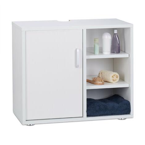 Waschbeckenunterschrank, eintürig, Badschrank, Aussparung, 3 Ablagen, WC Unterstellschrank 51x60x32 cm, weiß