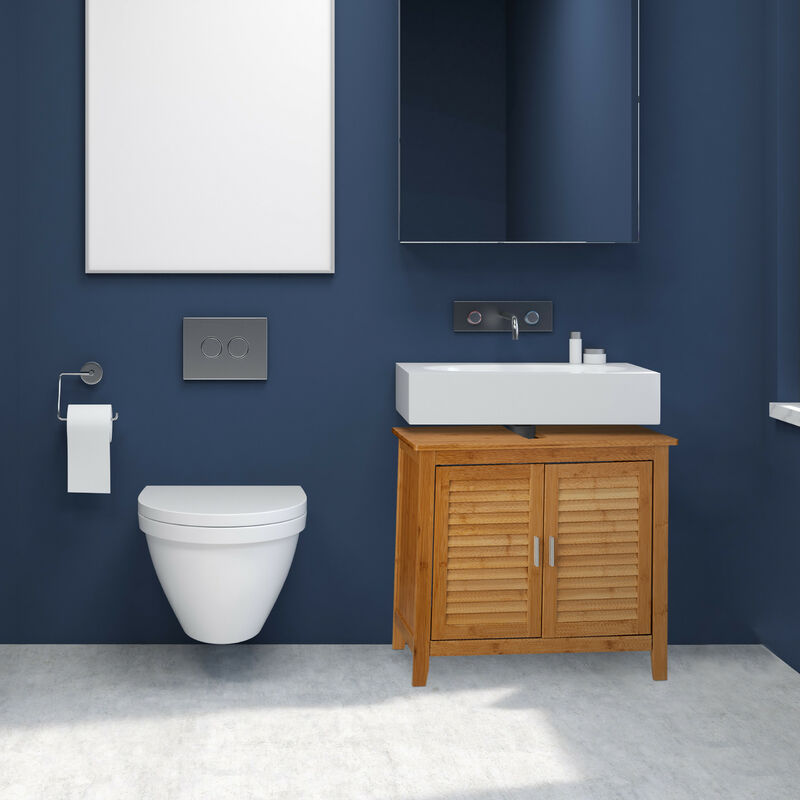 Waschbeckenunterschrank LAMELL aus Bambus H x B x T: ca. 60 x 67 x 30cm  Unterschrank fürs Waschbecken oder den Waschtisch Waschtischunterschrank  aus ...