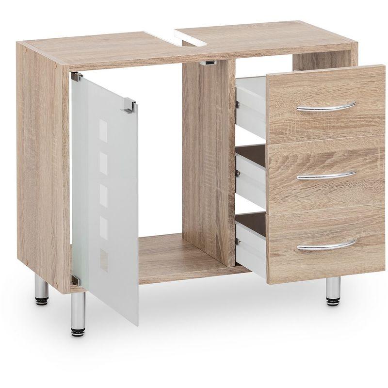 Waschbeckenunterschrank mit Glastür und 3 Schubladen