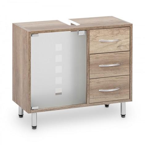 Waschbeckenunterschrank mit Glastür und 3 Schubladen Monumental Oak