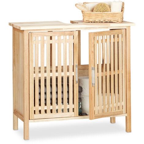 Waschbeckenunterschrank stehend, kleiner Unterschrank aus Walnuss, Badschrank mit Siphon-Ausschnitt, natur